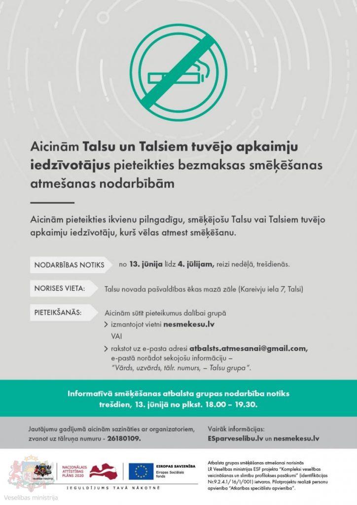 slimibas.lv Aicinām Talsu iedzīvotājus pieteikties bezmaksas smēķēšanas atmešanas nodarbībām