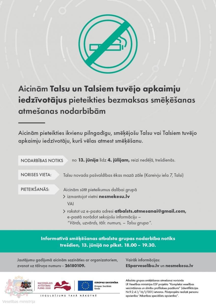 Aicinām Talsu iedzīvotājus pieteikties bezmaksas smēķēšanas atmešanas nodarbībām