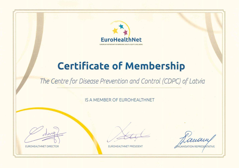Slimību profilakses un kontroles centrs pievienojas organizācijai EuroHealthNet